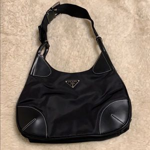 Prada shoulder bag. Black with Nylon. Very cute.